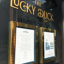 The Lucky Duck Gold Lettering Hand Painted on Glass